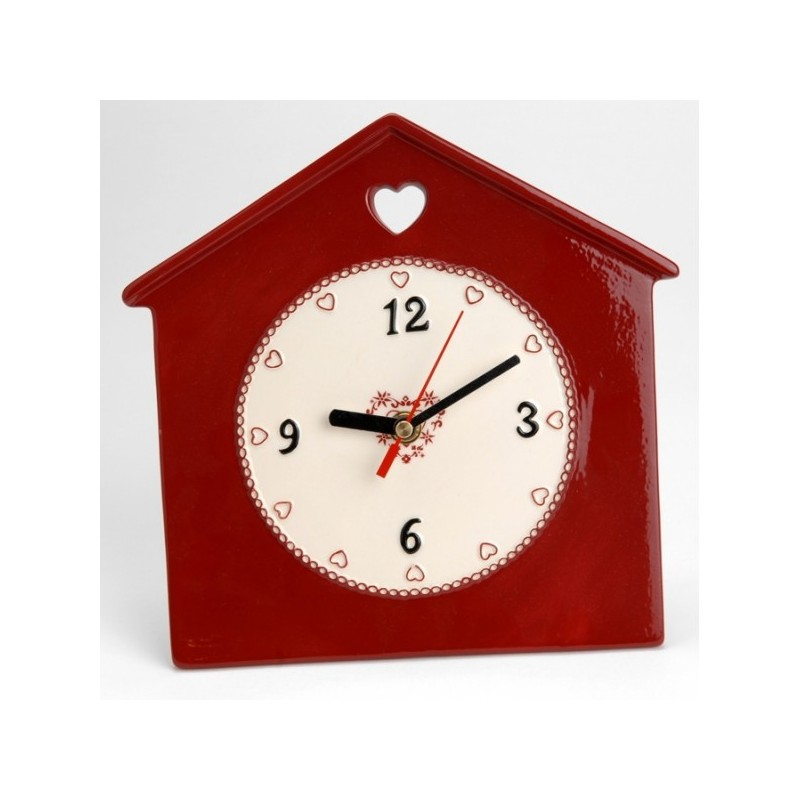Horloge murale d co rouge amadeus coeur de d co for Horloge murale cuisine rouge