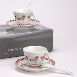 Coffret 4 expressos + cuillères Amadeus